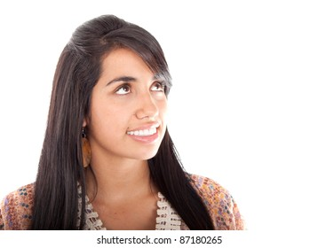 Closeup portrait of a young woman thinking and looking up isolated on white background
