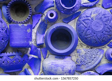 Closeup Pottery thai or blue Earthenware texture background - traditional style