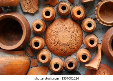 Closeup Pottery thai or brown Earthenware texture background - traditional style