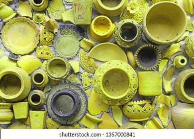 Closeup Pottery thai or yellow Earthenware texture background - traditional style