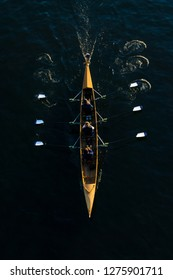 Close-up of a powerful Rowing Team in a Rowing Boat. View from above of a floating Rowing Boat with three Canoeists on a River. In Cologne Germany 2018.