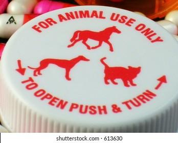 Closeup of prescription bottle cap for animals/pets use only.