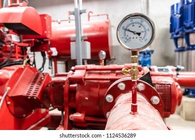 Closeup of pressure meter in pump room