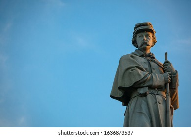 Close-up of the Private Soldier Monument at the Antietam National Cemetery in Sharpsburg, Maryland, USA - with Copy Space