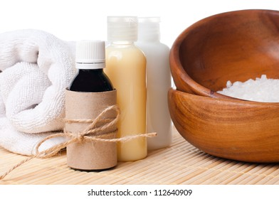 Close-up of products for spa, body care and hygiene on a white background