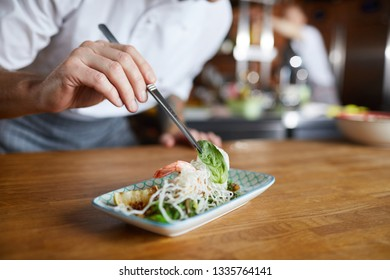 Closeup of professional chef plating Asian seafood dish in restaurant kitchen, copy space