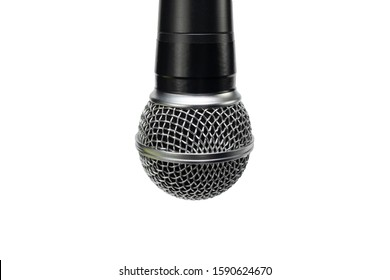 Close-up of the professional microphone hanging down. White isolated background