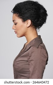 Closeup profile portrait of beautiful african american business woman