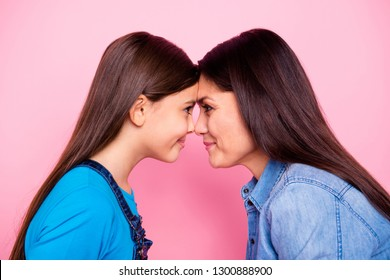 Close-up profile side view portrait of two nice cute pretty lovely attractive sweet cheerful cheery positive straight-haired girls nose to nose isolated over pink pastel background