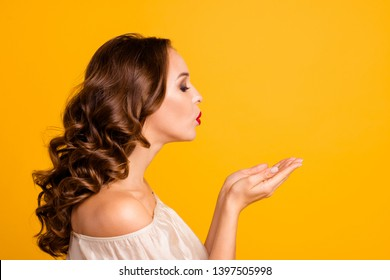 Close-up profile side view portrait of her she nice-looking attractive gorgeous stunning lovely lovable chic delicate wavy-haired lady sending kiss isolated over bright vivid shine yellow background