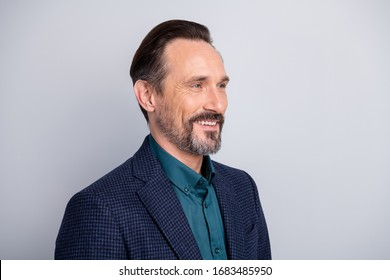 Close-up profile side view portrait of his he nice attractive cheerful cheery content middle age man wearing formalwear successful lawyer isolated over light white gray pastel color background