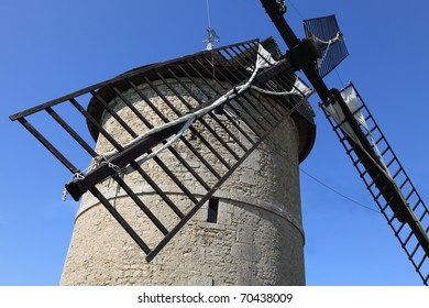 Close-up of the propeller of a traditional windmill.