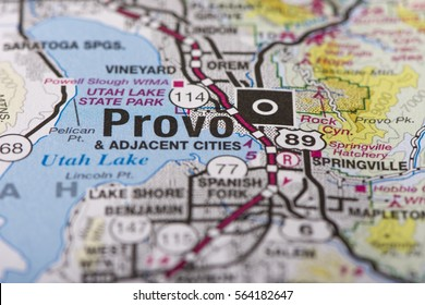 Closeup of Provo, Utah on a political map of the United States.