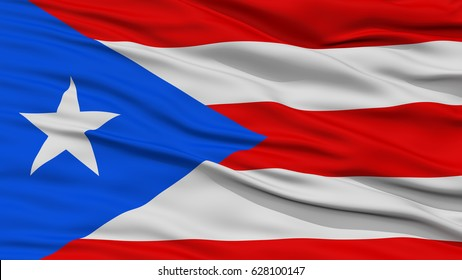 Closeup Puerto Rico Flag on Flagpole, USA state, Waving in the Wind, High Resolution