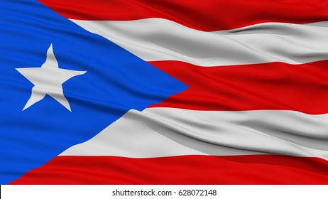 Closeup Puerto Rico Flag, Waving in the Wind, High Resolution