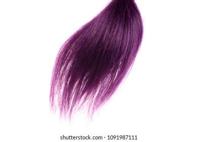 closeup purple weft of hair