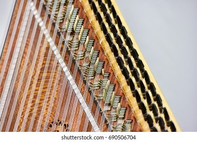 Closeup of qanun, Arabian musical instrument.