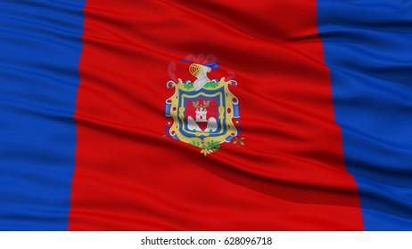Closeup Quito City Flag, Capital City of Ecuador, Waving in the Wind