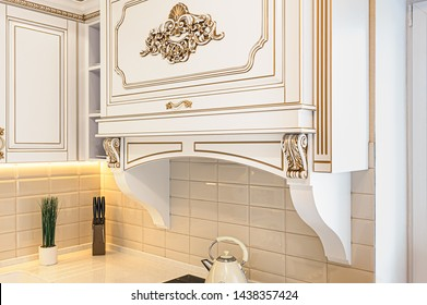 closeup r of neoclassical style white and gold wooden kitchen with island in luxury home