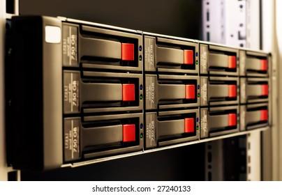 close-up rack-mounted disk array server