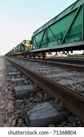 close-up of rail freight train, with selective focus