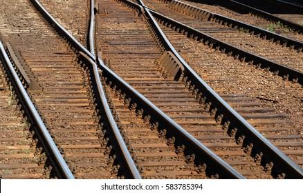 Closeup of railway track made of steel