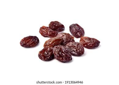 Close-up Raisins isolated on white background.