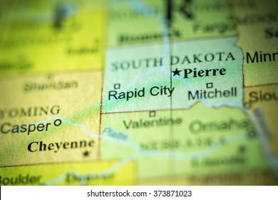 Closeup of Rapid City, South Dakota on a political map of USA.