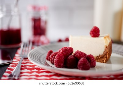 Close-up of raspberry cheesecake on plate