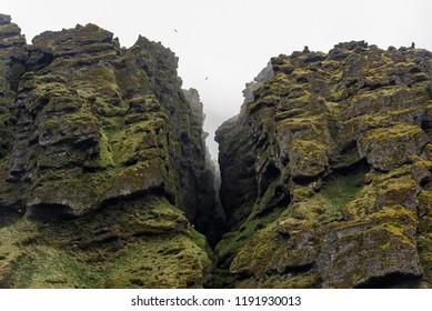 Closeup of Raudfeldsgja Gorge on a foggy day, Snaefellsnes Peninsula, Iceland