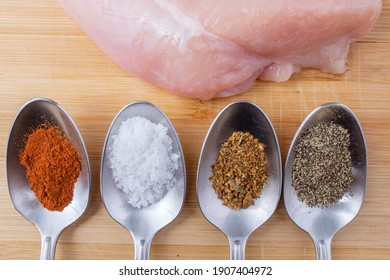 Close-up of raw chicken breast next to spices