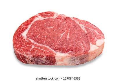 Close-up raw rib eye steak isolated on white background with clipping path.