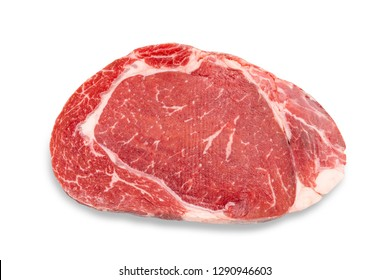 Close-up raw rib eye steak isolated on white background with clipping path. Top view