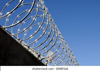 Closeup of razor wire