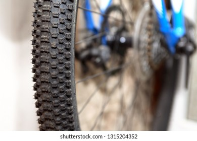 Closeup of real working wheel modern off-road bicycle