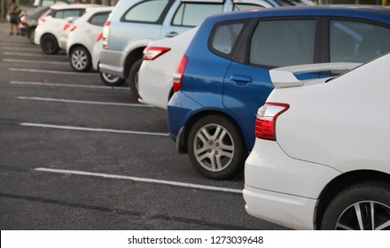Closeup of rear or back side of white car with  other cars parking in parking area in the evening of sunny day. The mean of simply transportation in modern world.