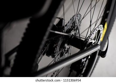 Closeup rear cassette on the mountain bike in low light.