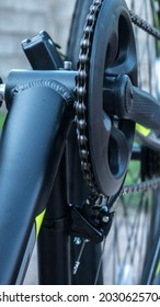 close-up of the rear or front chain shift chainring adjustment of a MTB mountain bike
