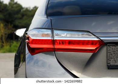 Close-up of the rear light of a modern car. Led optics of the car. Detail on the rear light of a car. Car detail. Developed Car's rear brake light