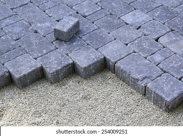 closeup of recently laid cobbles for a driveway