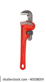 Closeup of red adjustable wrench over white. Maintenance background. Repair concept.