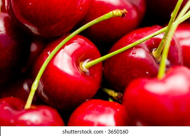 close-up of red cherries
