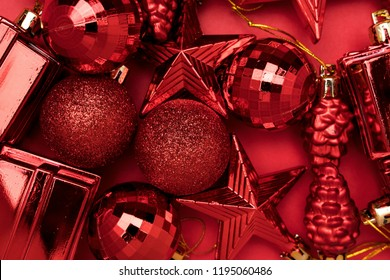 Close-up Red decoration toys. Merry Christmas and Happy New Year gift card. Top view.