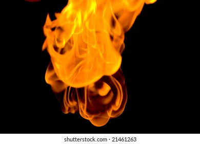 Closeup of red Fire on Black Background
