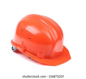 Closeup of red hard hat. Isolated on a white background.