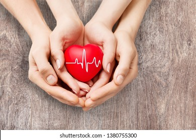 Close-up red Heart in hands, love concept          - Image