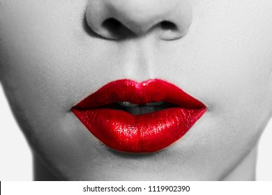 Close-up red lips. Perfect makeup. Ideal image for the advertisement of the professional cosmetics (lipstick, lipgloss etc).