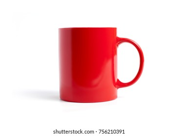 Closeup of red mug on a white background