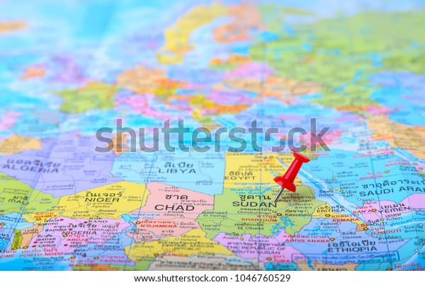 Closeup Red Pin African Country On Stock Photo (Edit Now