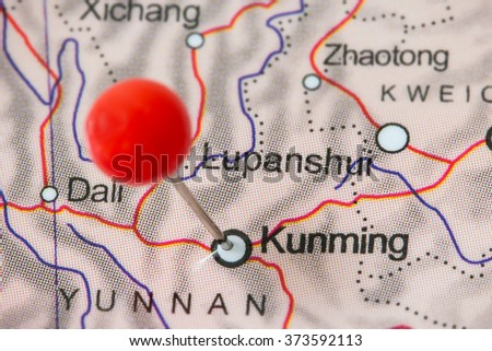Closeup Red Pushpin Map Kunming China Stock Photo Edit Now